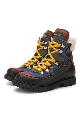Кожаные ботинки с внутренней меховой отделкой на шнуровке | Фото №1
