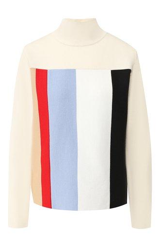 Шерстяной пуловер с высоким воротником
