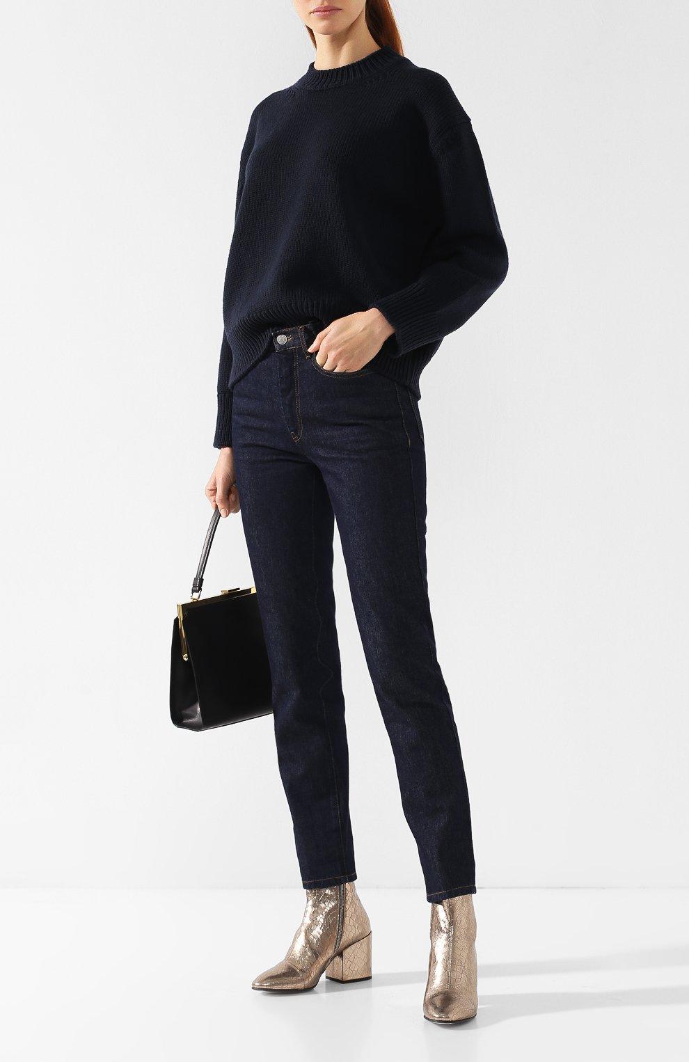 Шерстяной пуловер со спущенным рукавом Mansur Gavriel темно-синий | Фото №2