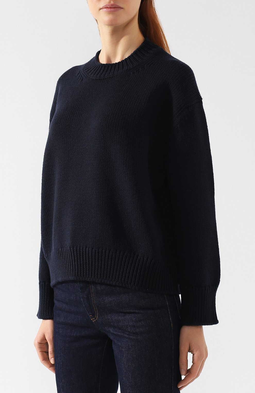 Шерстяной пуловер со спущенным рукавом Mansur Gavriel темно-синий | Фото №3
