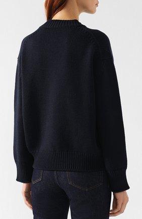 Шерстяной пуловер со спущенным рукавом Mansur Gavriel темно-синий | Фото №4