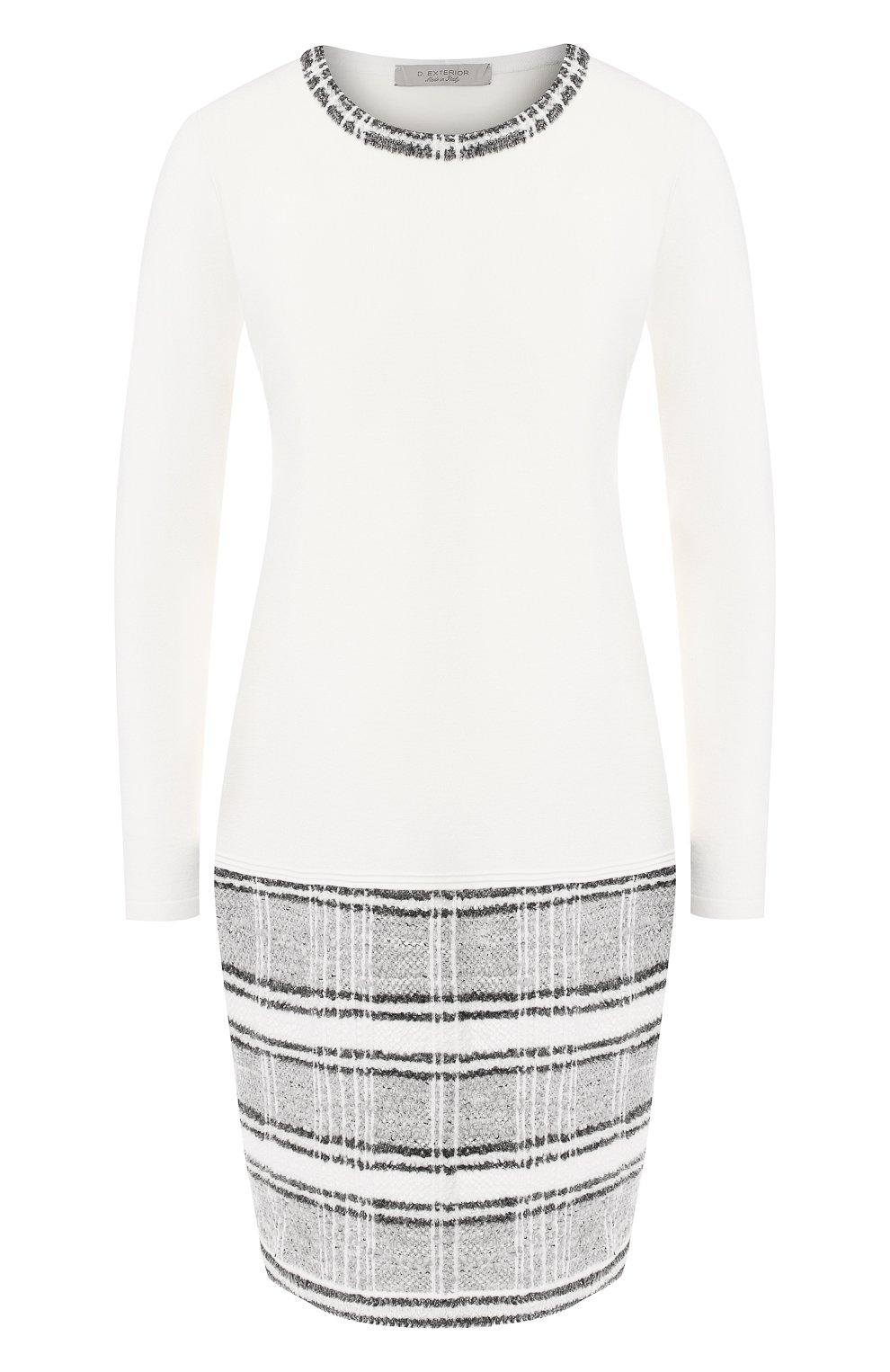 234fe6563425671 Женское белое шерстяное платье с круглым вырезом D.EXTERIOR — купить ...