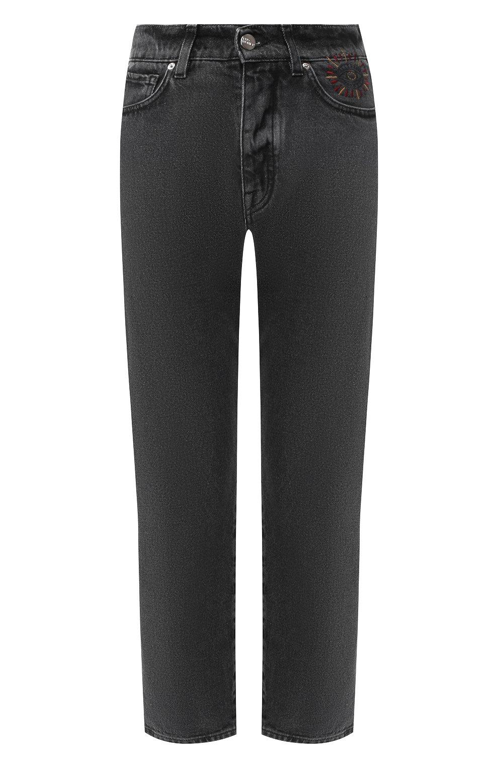 Укороченные джинсы с потертостями Two Women In The World серые | Фото №1