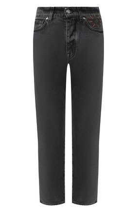 Укороченные джинсы с потертостями   Фото №1