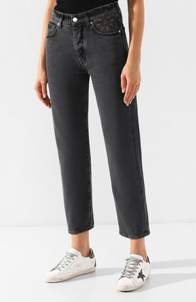 Укороченные джинсы с потертостями   Фото №3