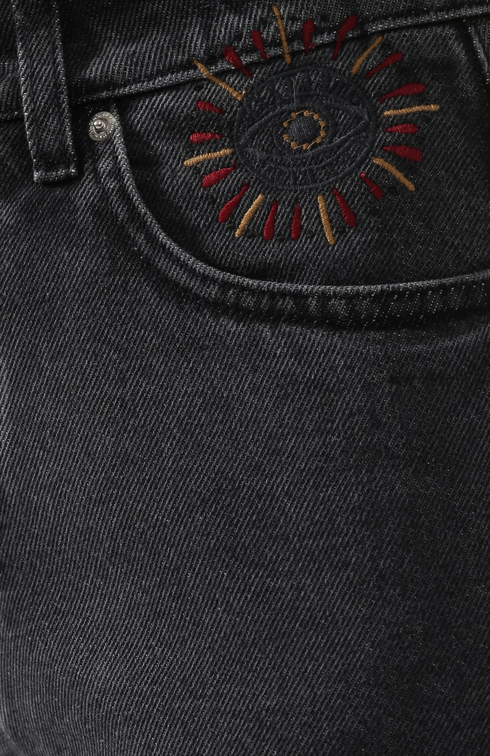 Укороченные джинсы с потертостями Two Women In The World серые | Фото №5