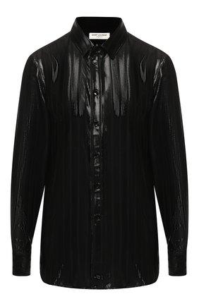 Шелковая блуза с отложным воротником | Фото №1