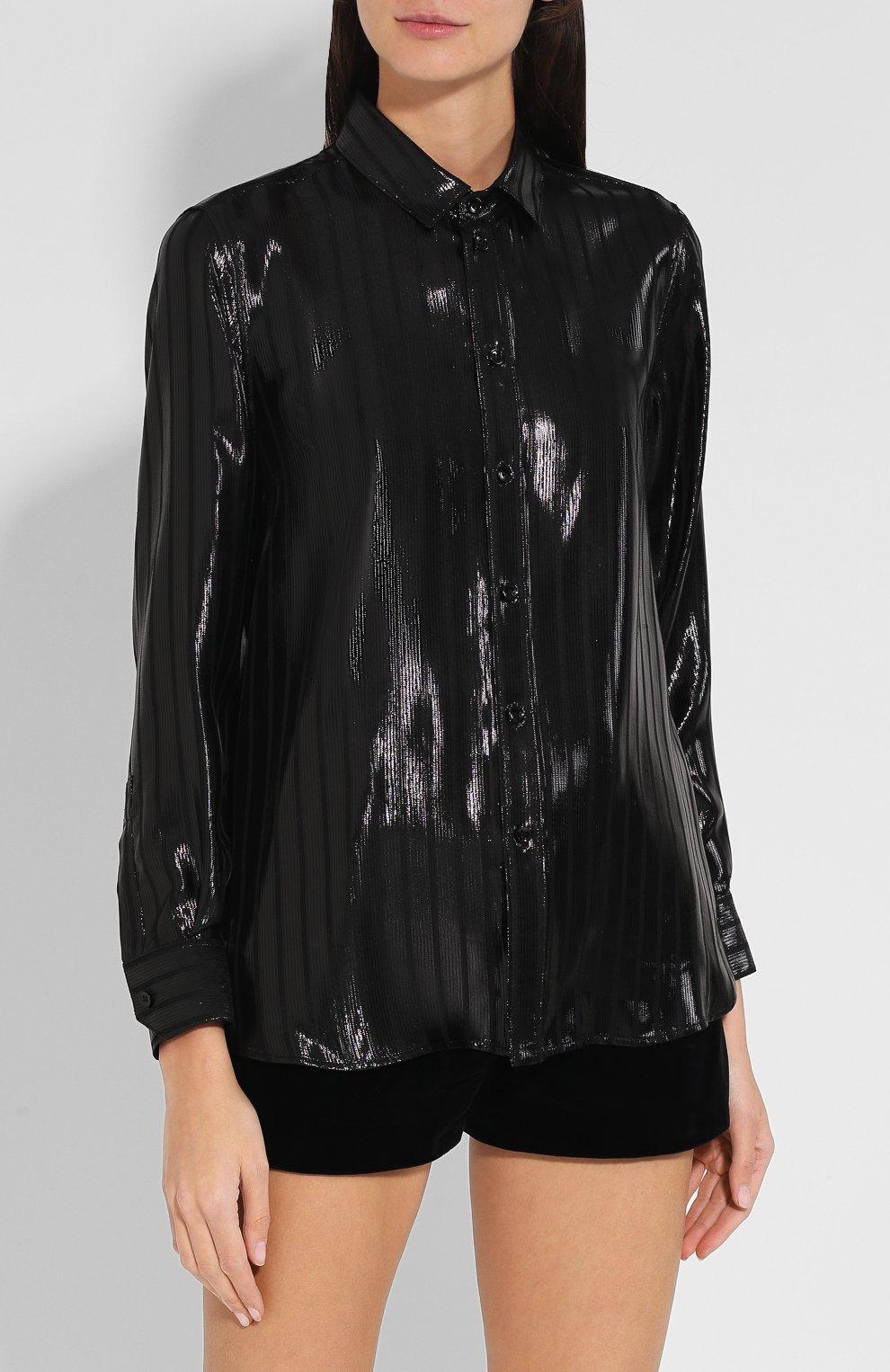 Шелковая блуза с отложным воротником | Фото №3