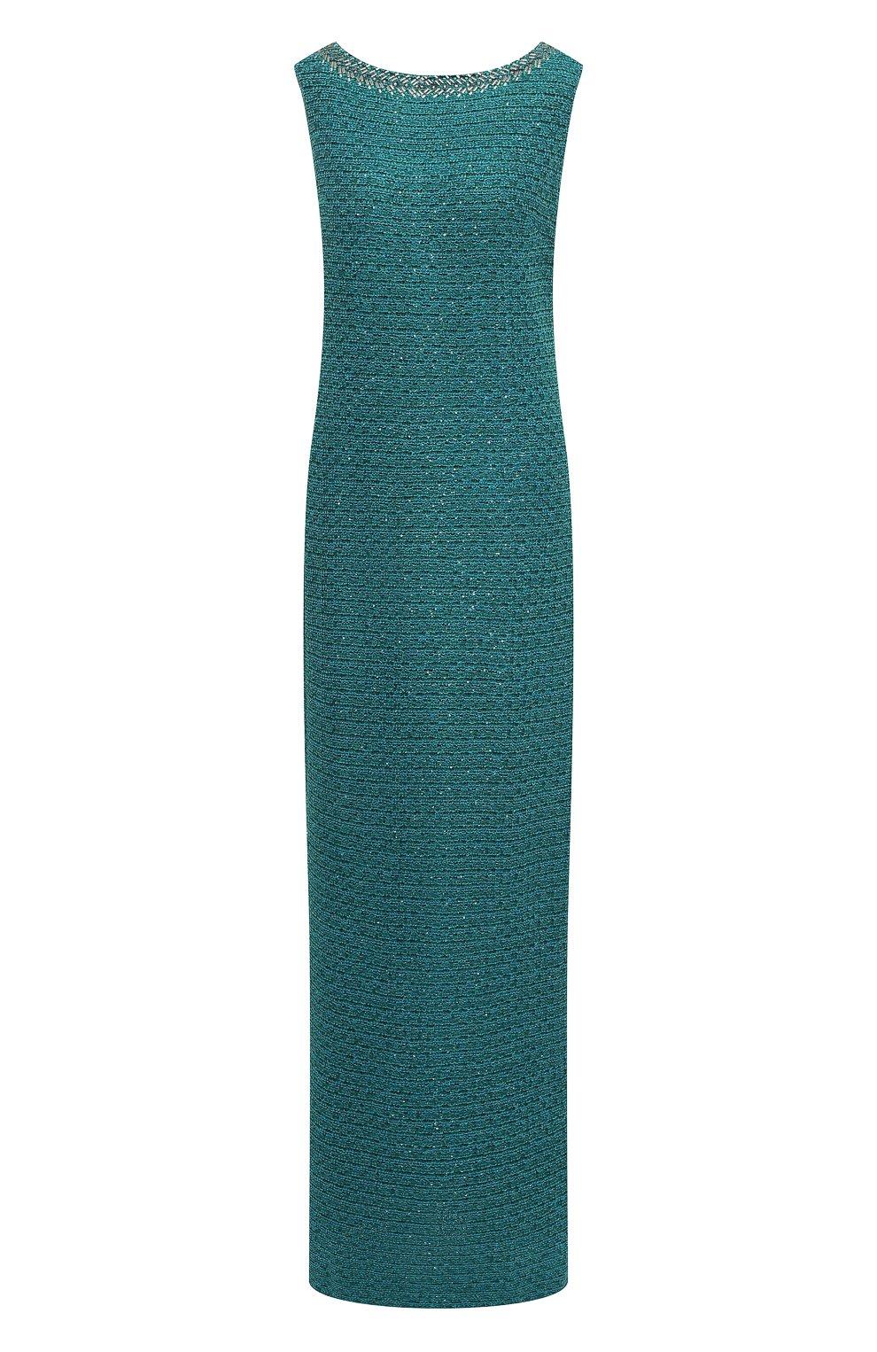 Вязаное платье-макси и декоративной отделкой | Фото №1