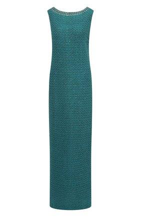 Вязаное платье-макси и декоративной отделкой St. John бирюзовое | Фото №1