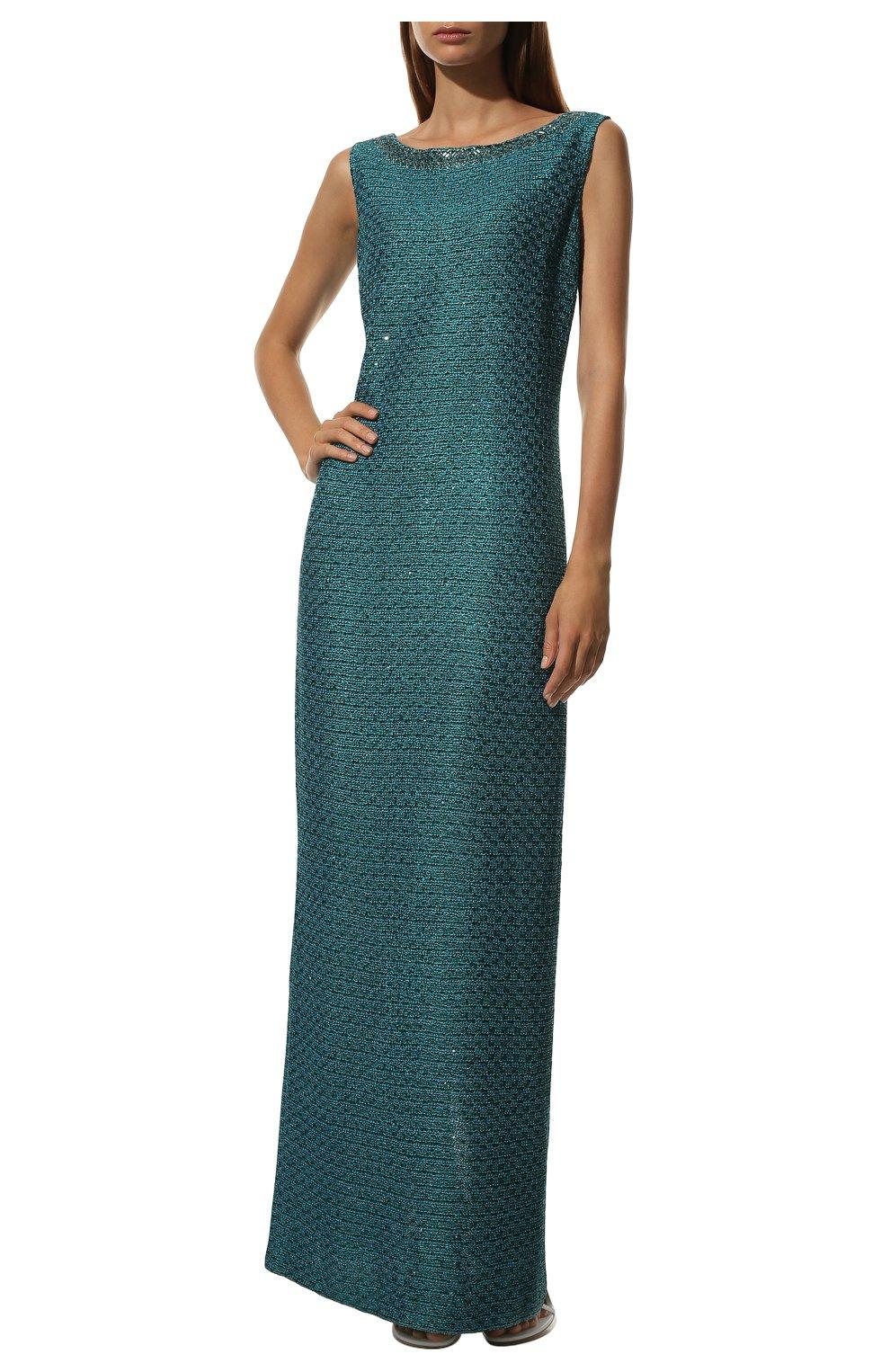 Вязаное платье-макси и декоративной отделкой St. John бирюзовое | Фото №2