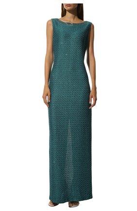 Вязаное платье-макси и декоративной отделкой St. John бирюзовое | Фото №3