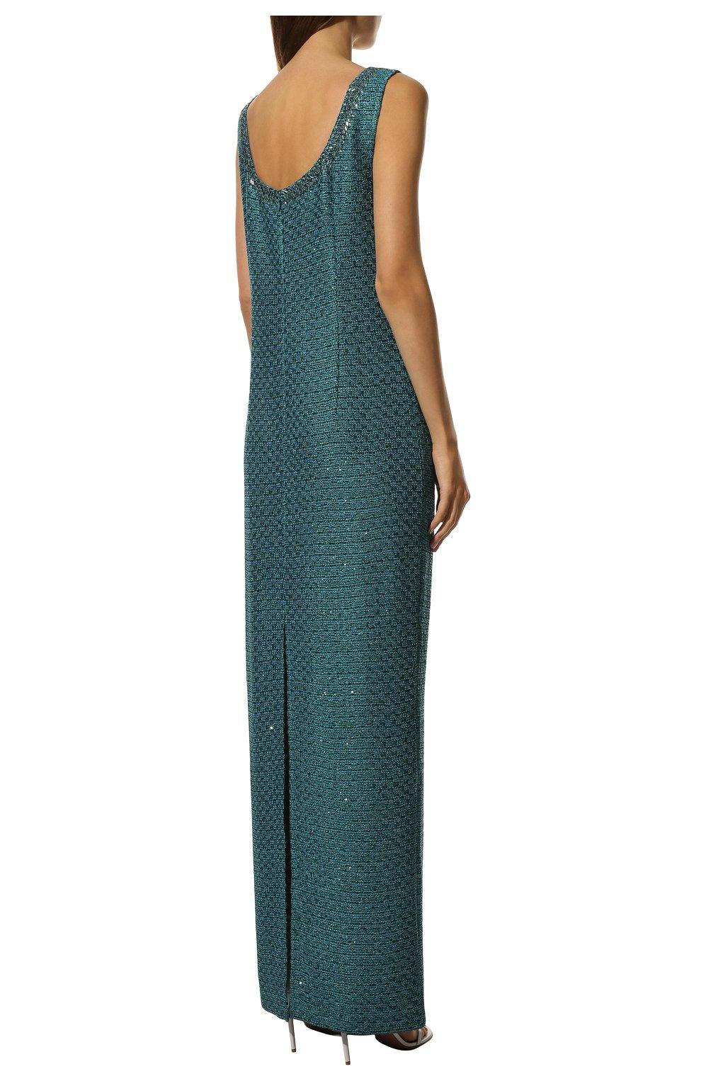 Вязаное платье-макси и декоративной отделкой St. John бирюзовое | Фото №4