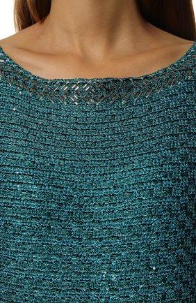 Вязаное платье-макси и декоративной отделкой St. John бирюзовое | Фото №5