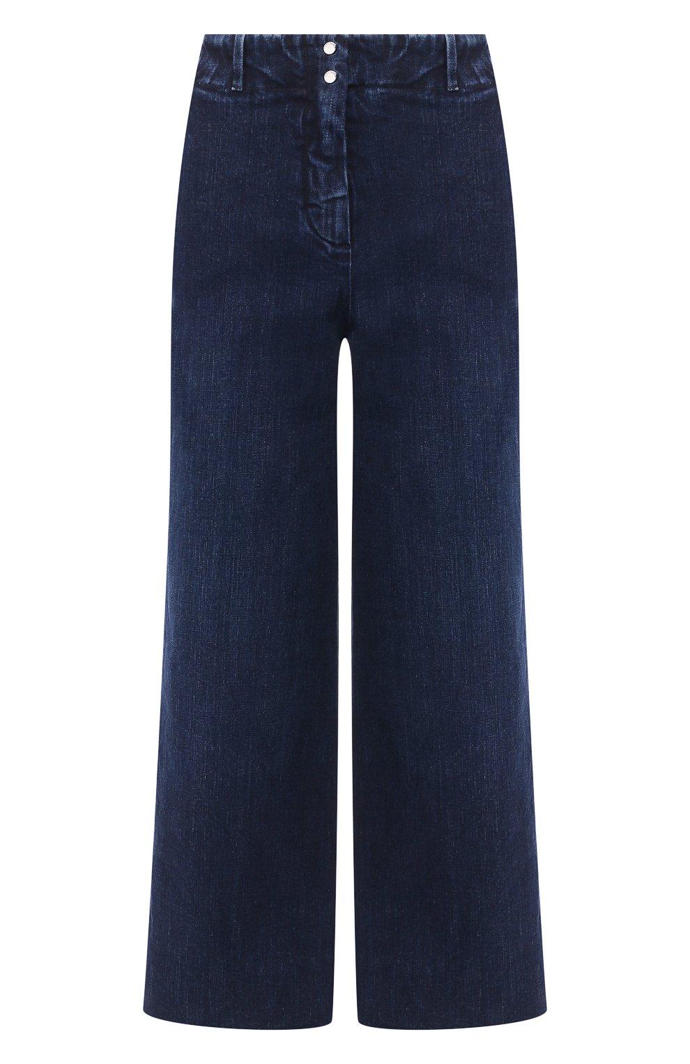 Женские укороченные джинсы с потертостями LORO PIANA синего цвета, арт. FAI2679   Фото 1