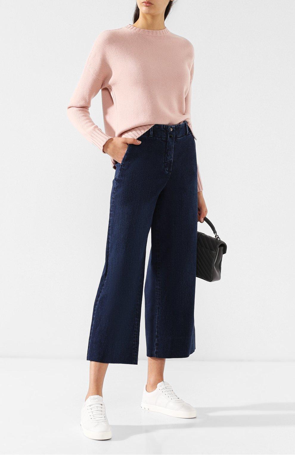 Женские укороченные джинсы с потертостями LORO PIANA синего цвета, арт. FAI2679   Фото 2