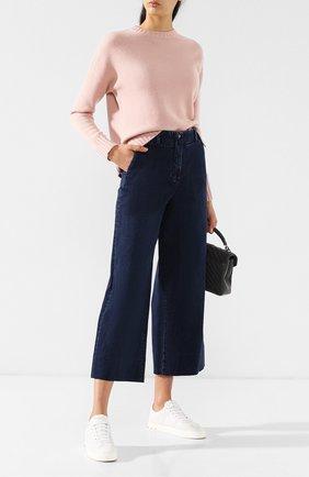 Женские укороченные джинсы с потертостями LORO PIANA синего цвета, арт. FAI2679 | Фото 2