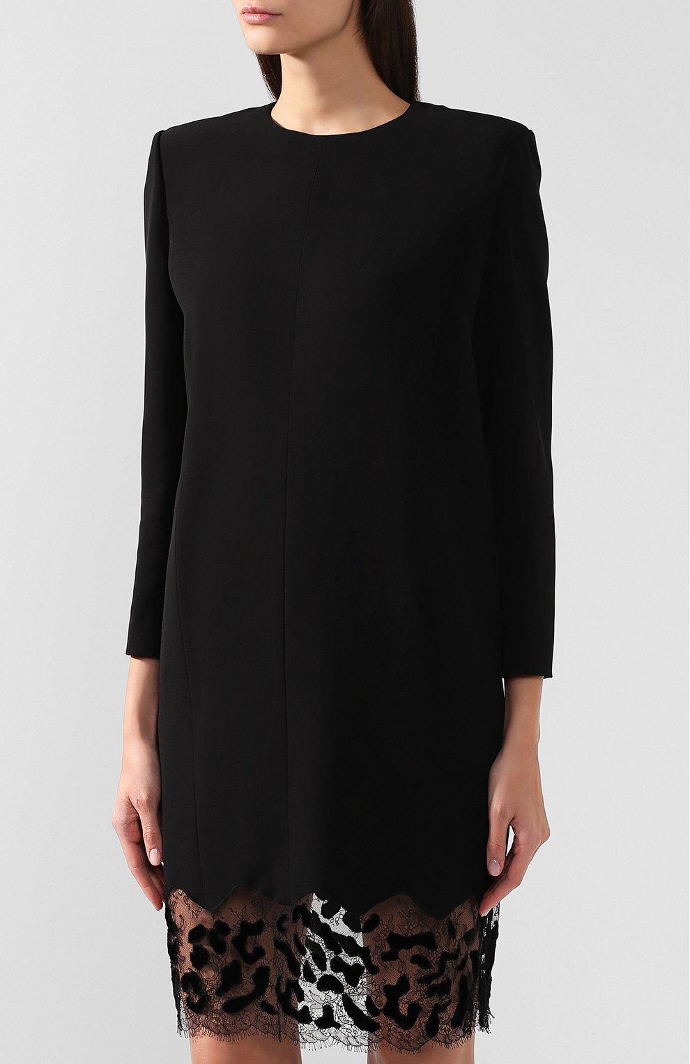 c110ff5d720 Женское черное платье прямого кроя с кружевной вставкой GIVENCHY ...