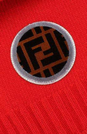 Шапка из смеси шерсти и кашемира Fendi красного цвета | Фото №3