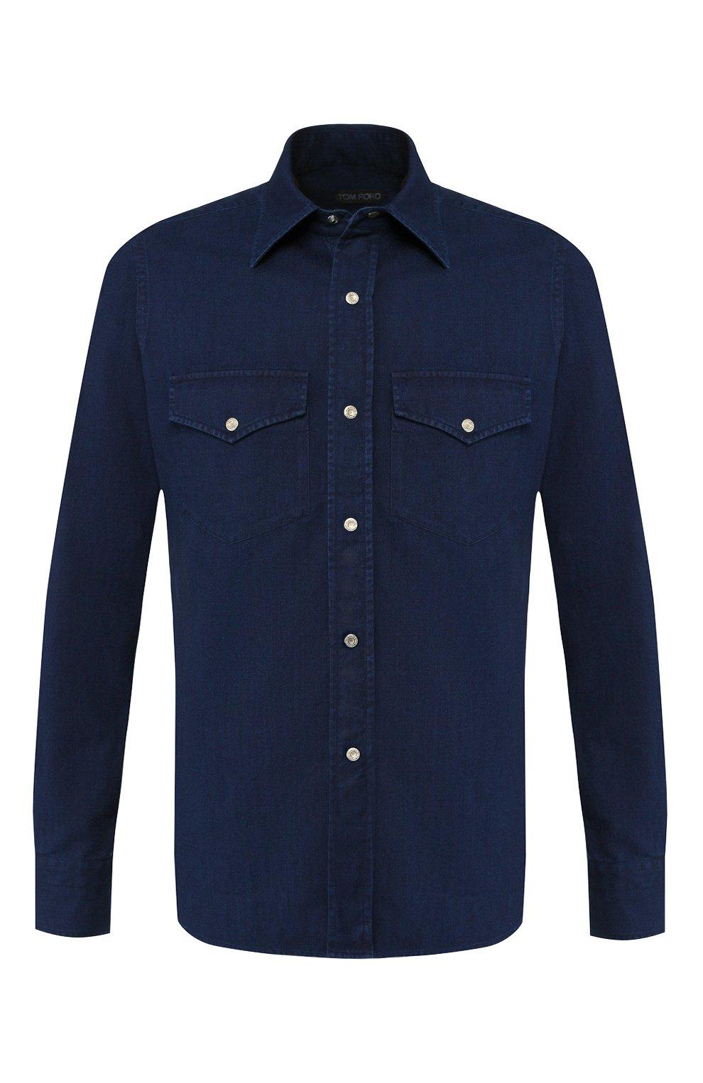Мужская джинсовая рубашка  TOM FORD синего цвета, арт. 4FT440/94MAHA   Фото 1