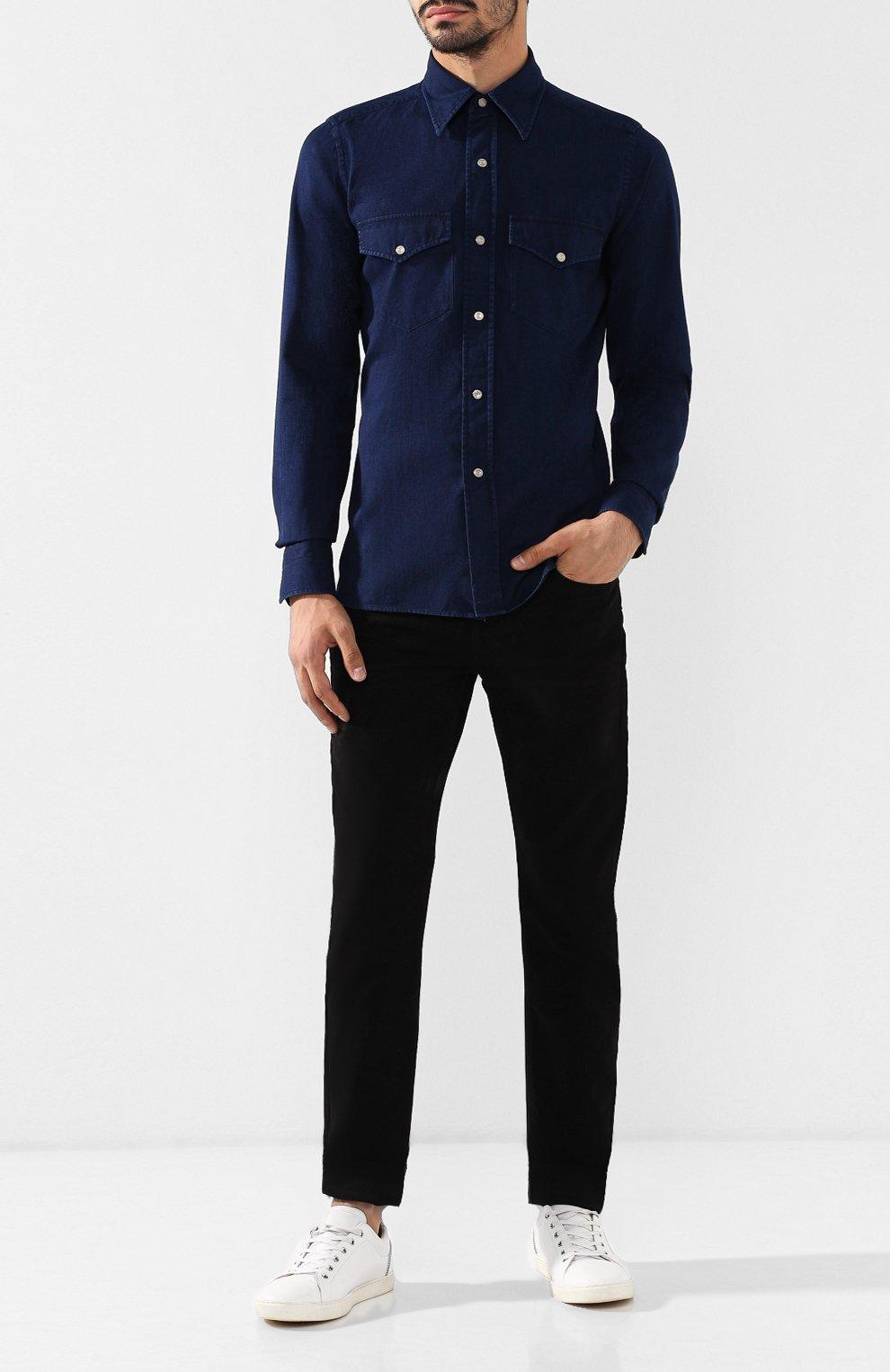 Мужская джинсовая рубашка  TOM FORD синего цвета, арт. 4FT440/94MAHA   Фото 2