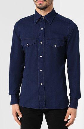 Мужская джинсовая рубашка  TOM FORD синего цвета, арт. 4FT440/94MAHA   Фото 3