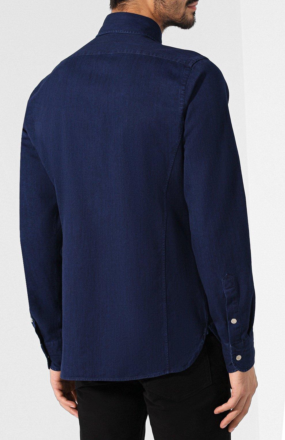 Мужская джинсовая рубашка  TOM FORD синего цвета, арт. 4FT440/94MAHA   Фото 4