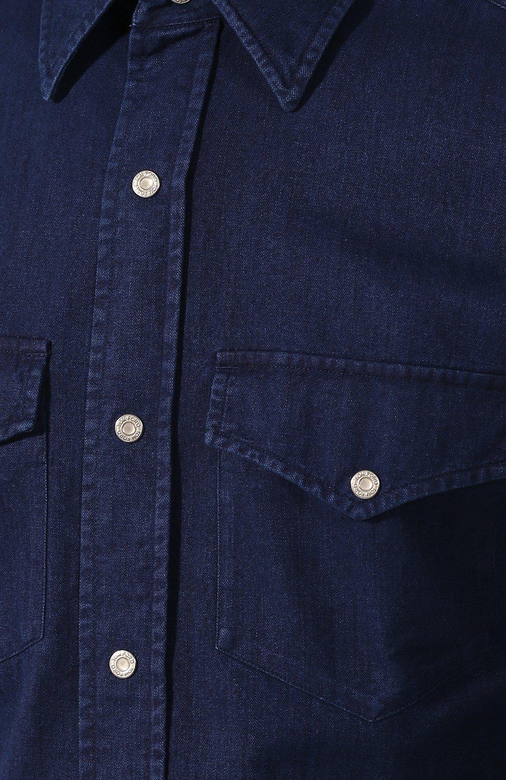 Мужская джинсовая рубашка  TOM FORD синего цвета, арт. 4FT440/94MAHA   Фото 5