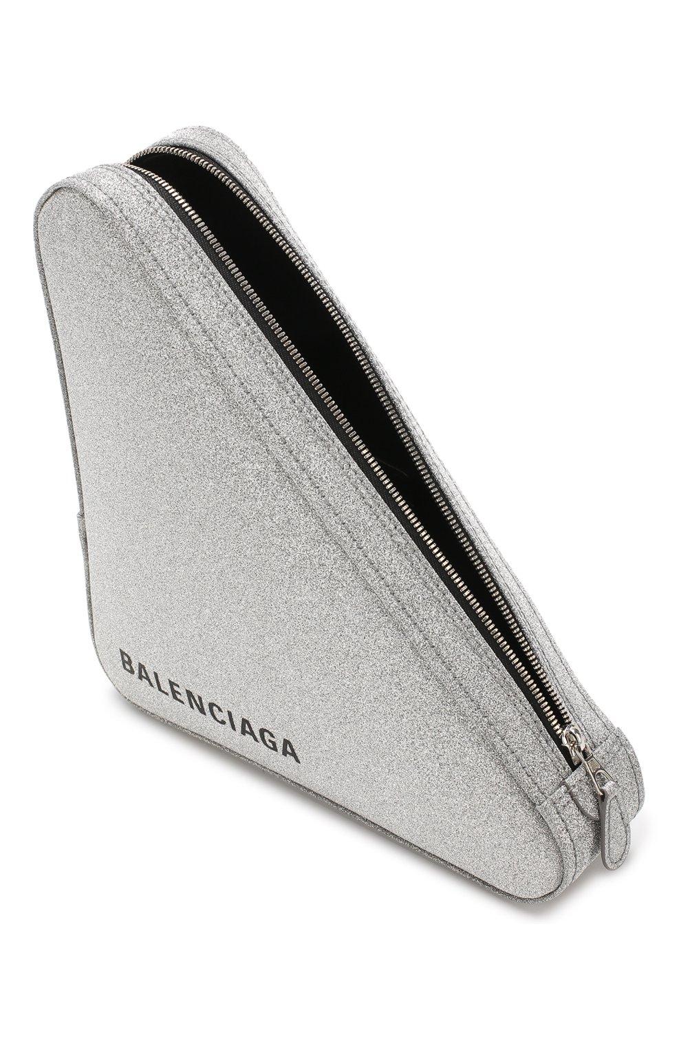 fc6b78d64a5b Клатч Triangle с глиттером BALENCIAGA серебряного цвета — купить за ...
