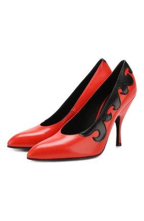 Кожаные туфли с аппликацией на шпильке | Фото №1