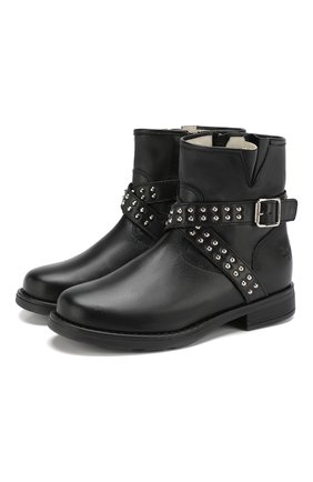 Кожаные ботинки на молнии с пряжкой | Фото №1