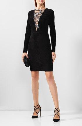 Женское кожаное платье с декоративной отделкой JITROIS черного цвета, арт. DRESS EDEN EMBR0IDERED | Фото 2