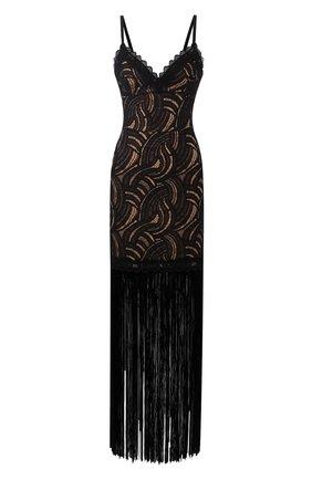 Платье-макси на бретельках с бахромой | Фото №1