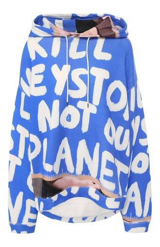 Хлопковый пуловер с капюшоном и принтом