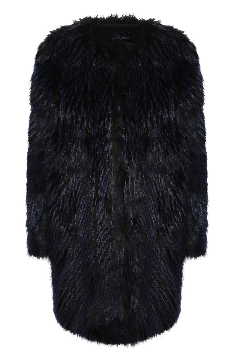 Пальто из эко-меха EMPORIO ARMANI темно-синего цвета — купить за ... f970efa7f3a