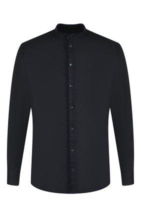 Мужская хлопковая рубашка с воротником мандарин GIORGIO ARMANI темно-синего цвета, арт. 8WGCCZ04/TZ069   Фото 1