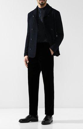 Мужская хлопковая рубашка с воротником мандарин GIORGIO ARMANI темно-синего цвета, арт. 8WGCCZ04/TZ069   Фото 2