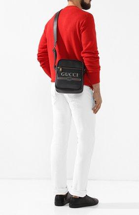 Мужская кожаная сумка-планшетс логотипом бренда GUCCI черного цвета, арт. 523591/0QRAT   Фото 2