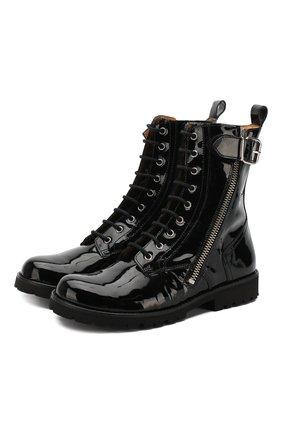 Ботинки из лаковой кожи на молнии со шнуровкой | Фото №1