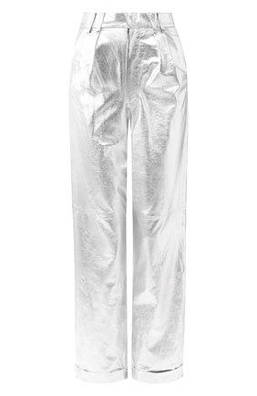Кожаные брюки с отворотами | Фото №1
