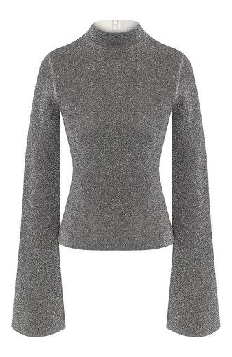 Пуловер с воротником-стойкой и расклешенными рукавами