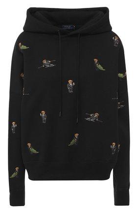 Хлопковый пуловер с капюшоном и вышитым принтом | Фото №1