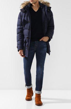 Мужской кашемировый пуловер тонкой вязки RALPH LAUREN темно-синего цвета, арт. 790509349 | Фото 2