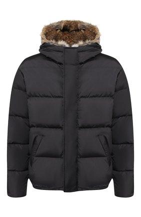 Пуховая куртка на молнии с меховой отделкой капюшона | Фото №1