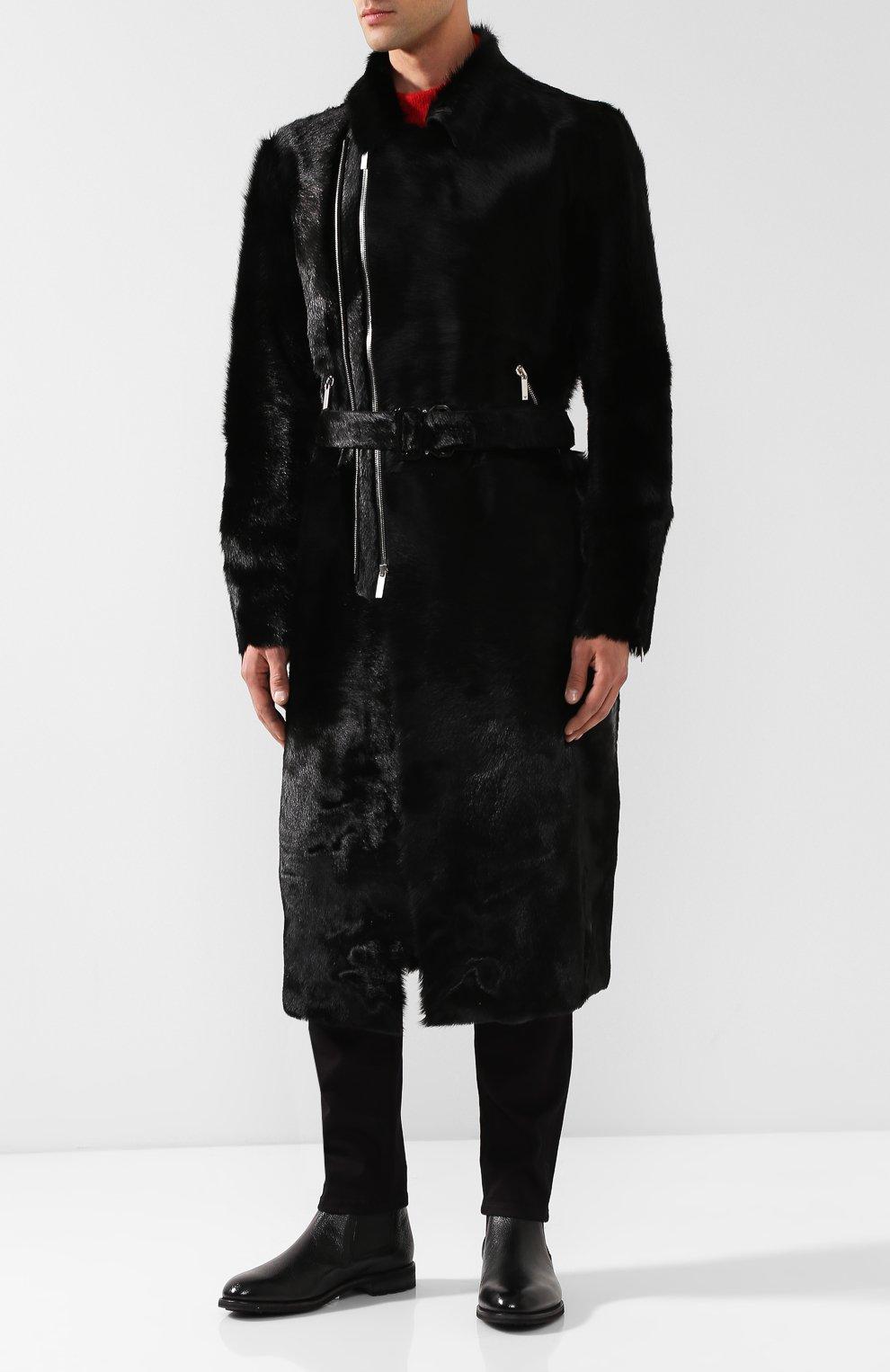 Мужская черного пальто прямого кроя из меха на косой молнии с поясом ... b2ae338d05a