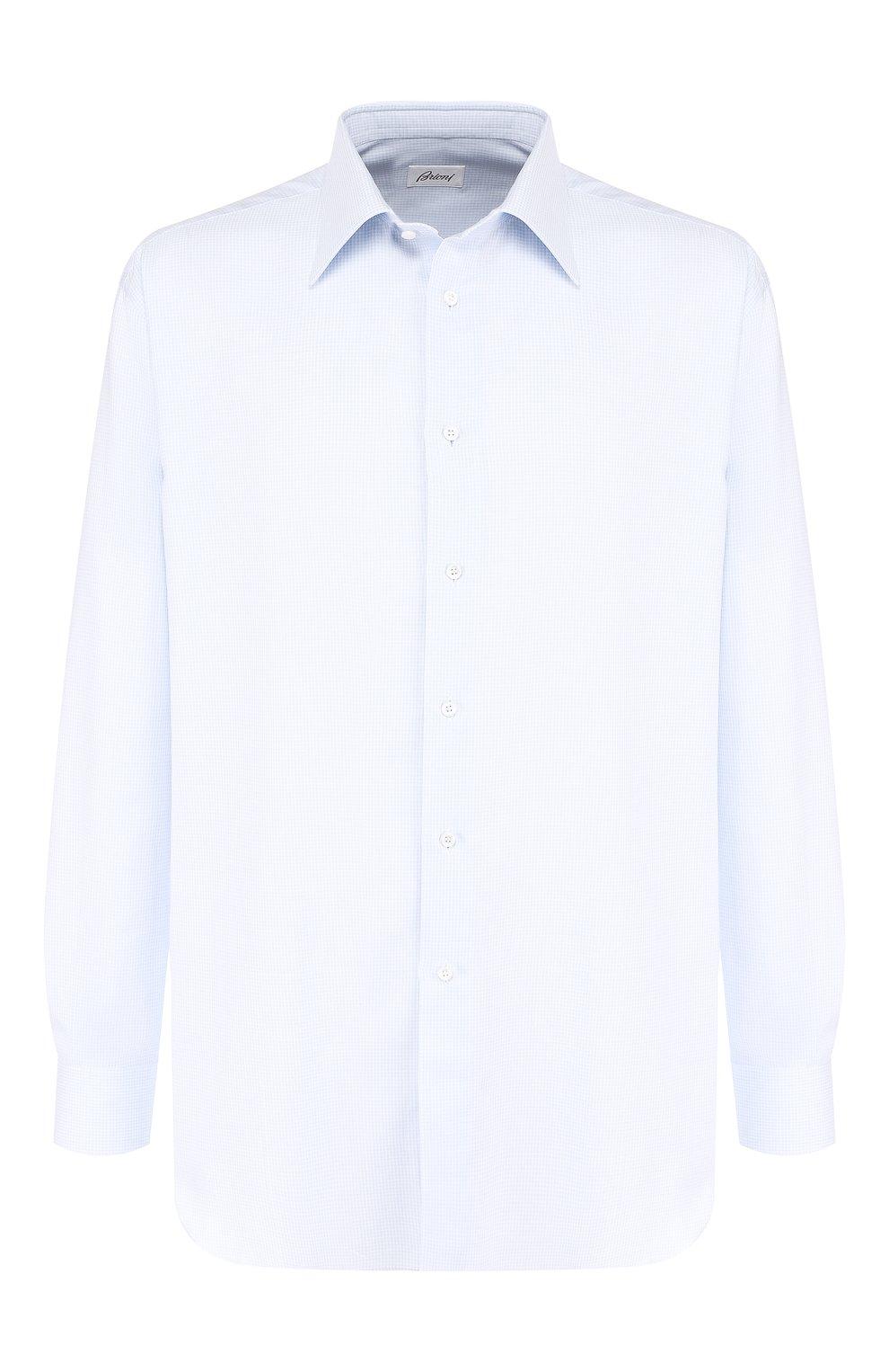 Мужская хлопковая сорочка с воротником кент BRIONI голубого цвета, арт. RCLU0W/07096 | Фото 1