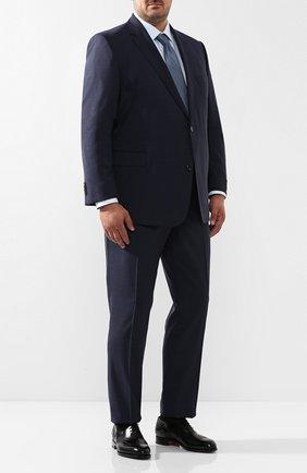 Мужская хлопковая сорочка с воротником кент BRIONI голубого цвета, арт. RCLU0W/07096 | Фото 2