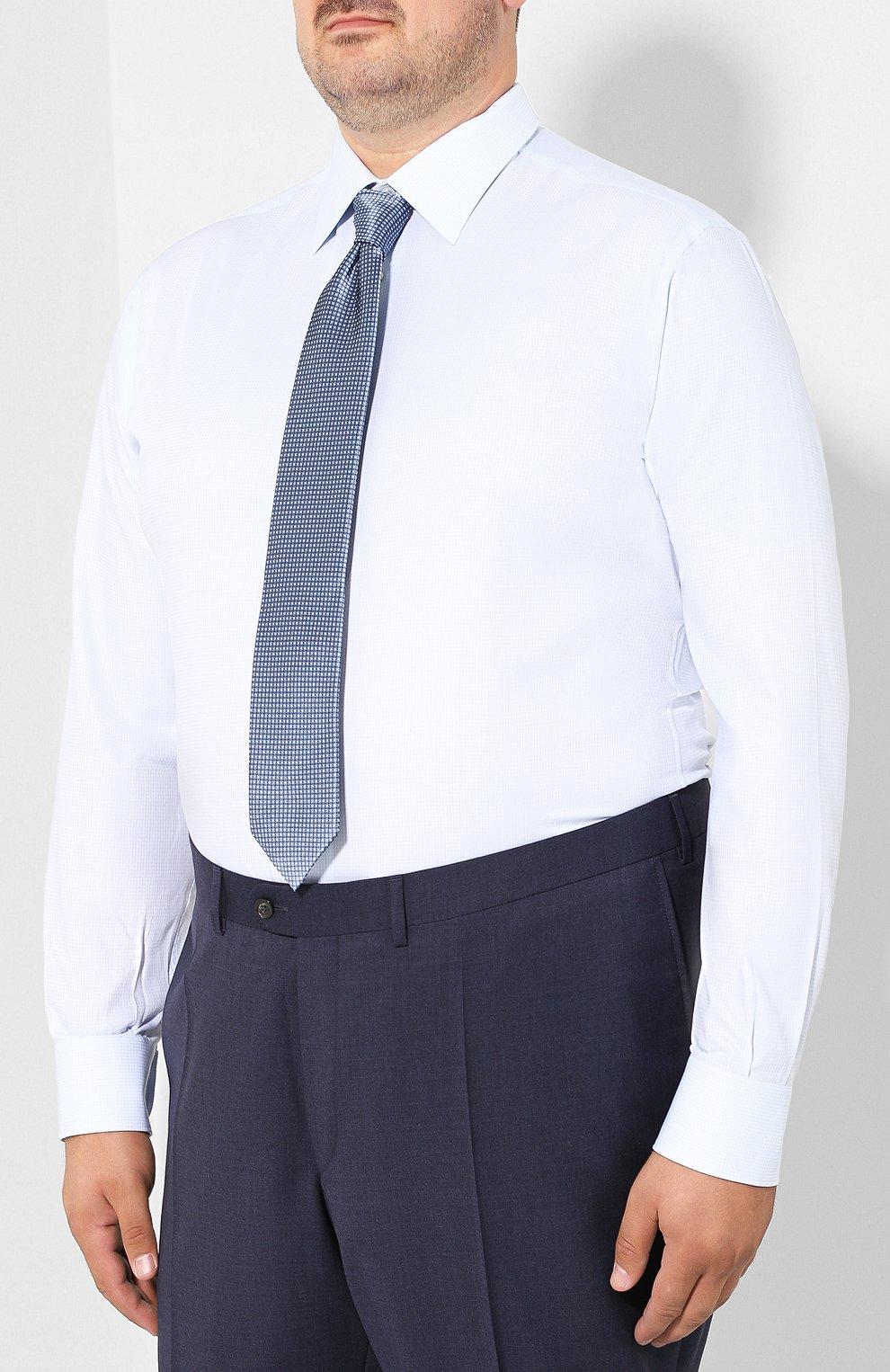 Мужская хлопковая сорочка с воротником кент BRIONI голубого цвета, арт. RCLU0W/07096 | Фото 4