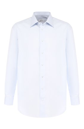 Мужская хлопковая сорочка с воротником кент BRIONI голубого цвета, арт. RCLU2V/PZ001 | Фото 1