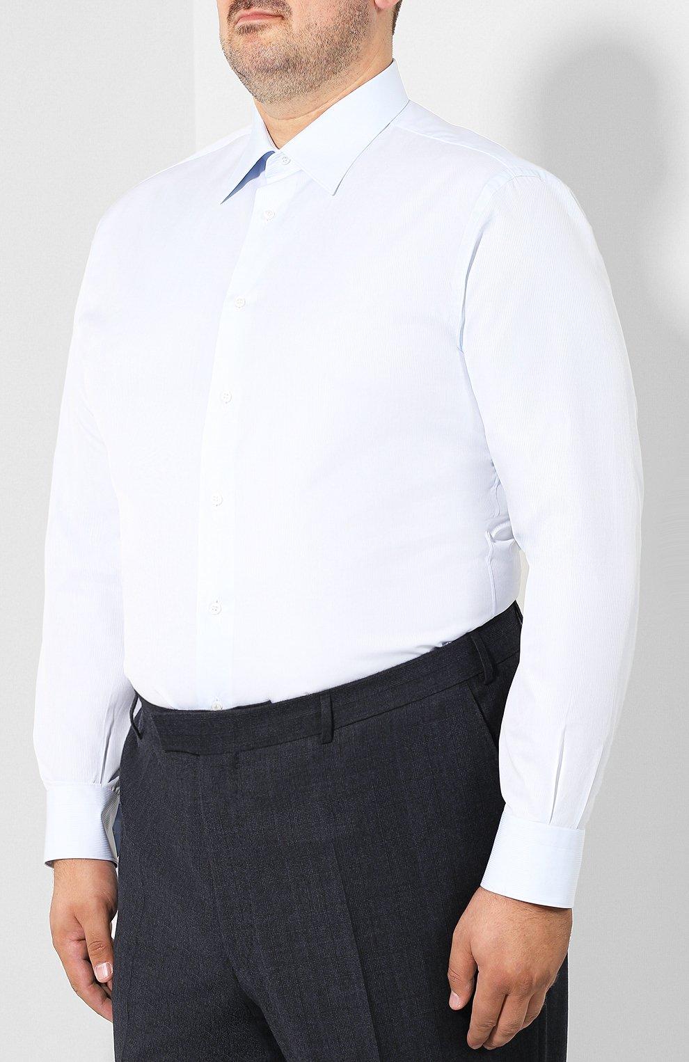 Мужская хлопковая сорочка с воротником кент BRIONI голубого цвета, арт. RCLU2V/PZ001 | Фото 3